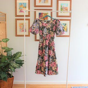 Vintage Floral Puff Sleeve Dress S M